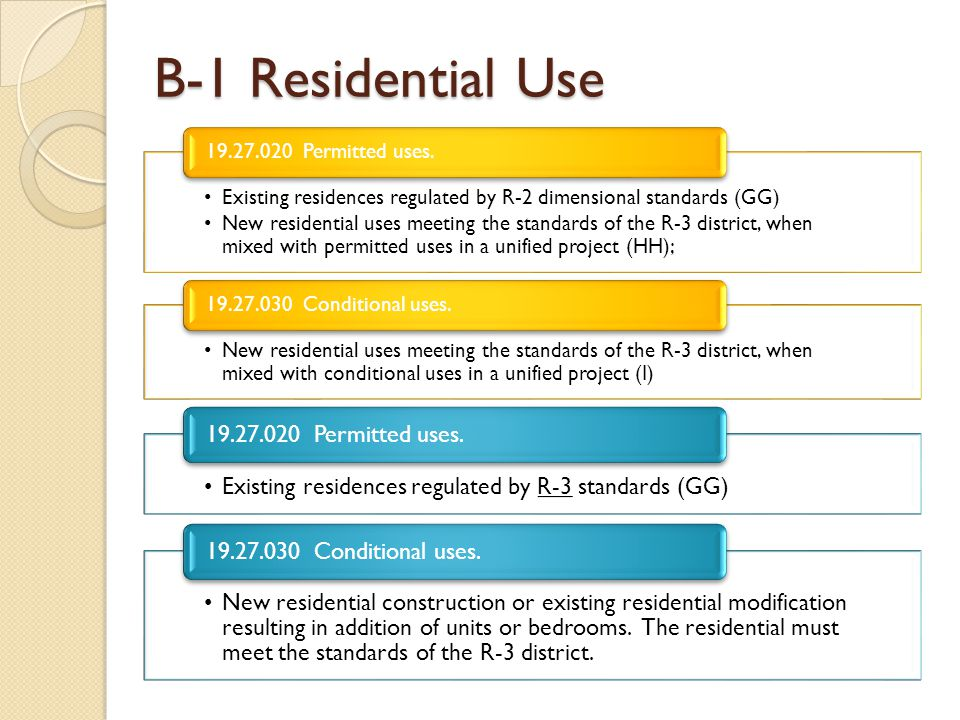 B-1 Residential Use 19.27.020 Permitted uses.
