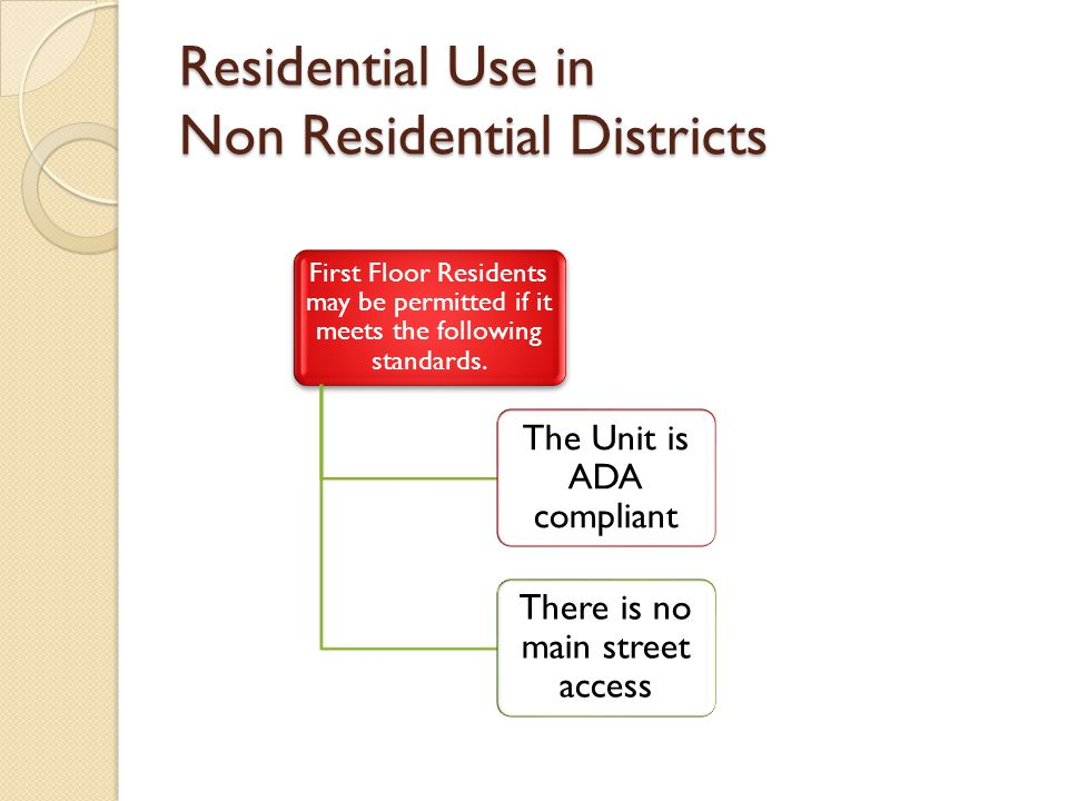 Residential Use in Non Residential Districts