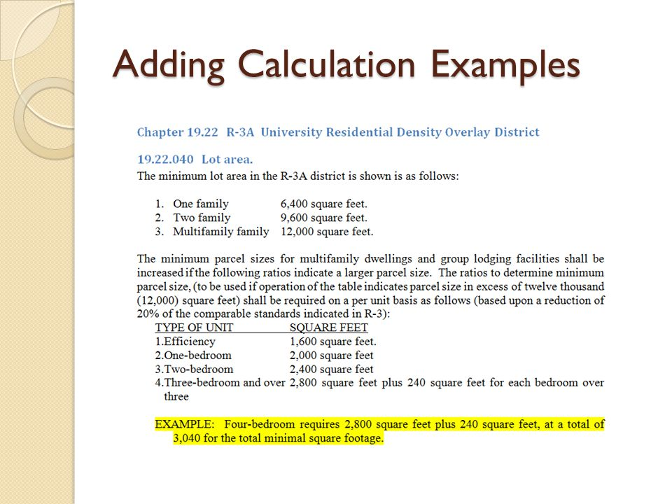 Adding Calculation Examples