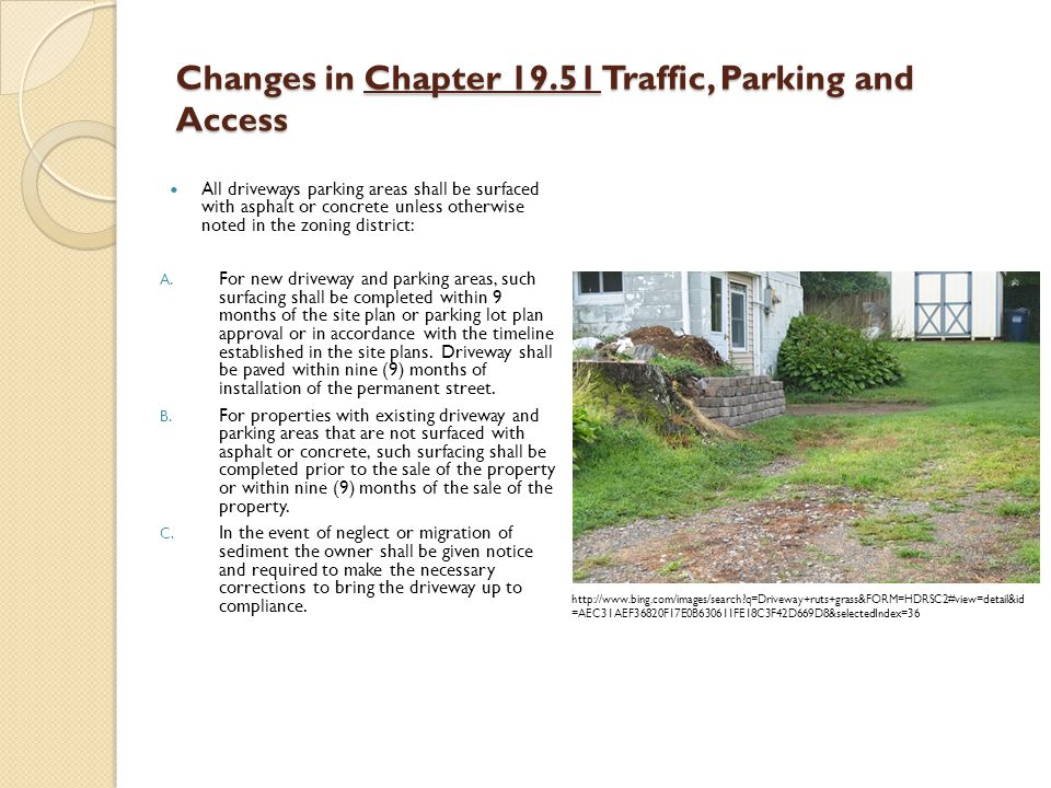 Changes in Chapter 19.51 Traffic, Parking and Access