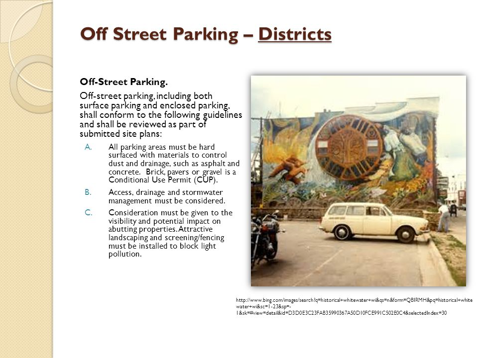 Off Street Parking – Districts