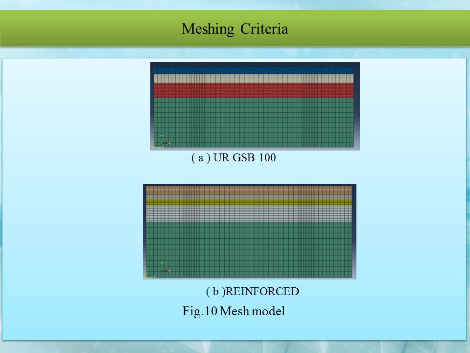Meshing Criteria ( a ) UR GSB 100 ( b )REINFORCED Fig.10 Mesh model