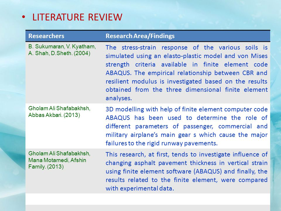 LITERATURE REVIEW Researchers Research Area/Findings