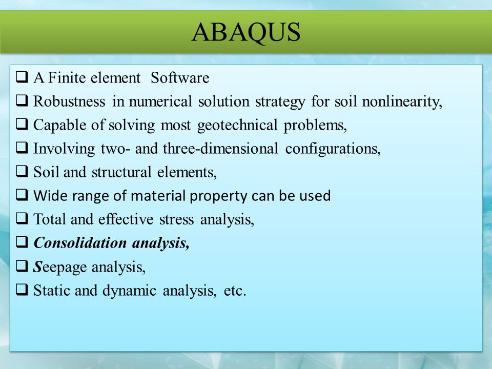 ABAQUS A Finite element Software