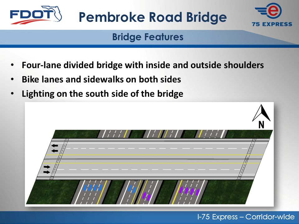 Pembroke Road Bridge Bridge Features. Four-lane divided bridge with inside and outside shoulders. Bike lanes and sidewalks on both sides.