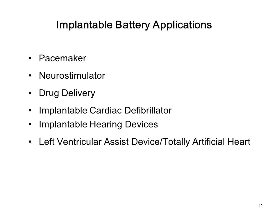 Implantable Battery Applications