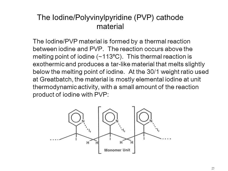 The Iodine/Polyvinylpyridine (PVP) cathode material