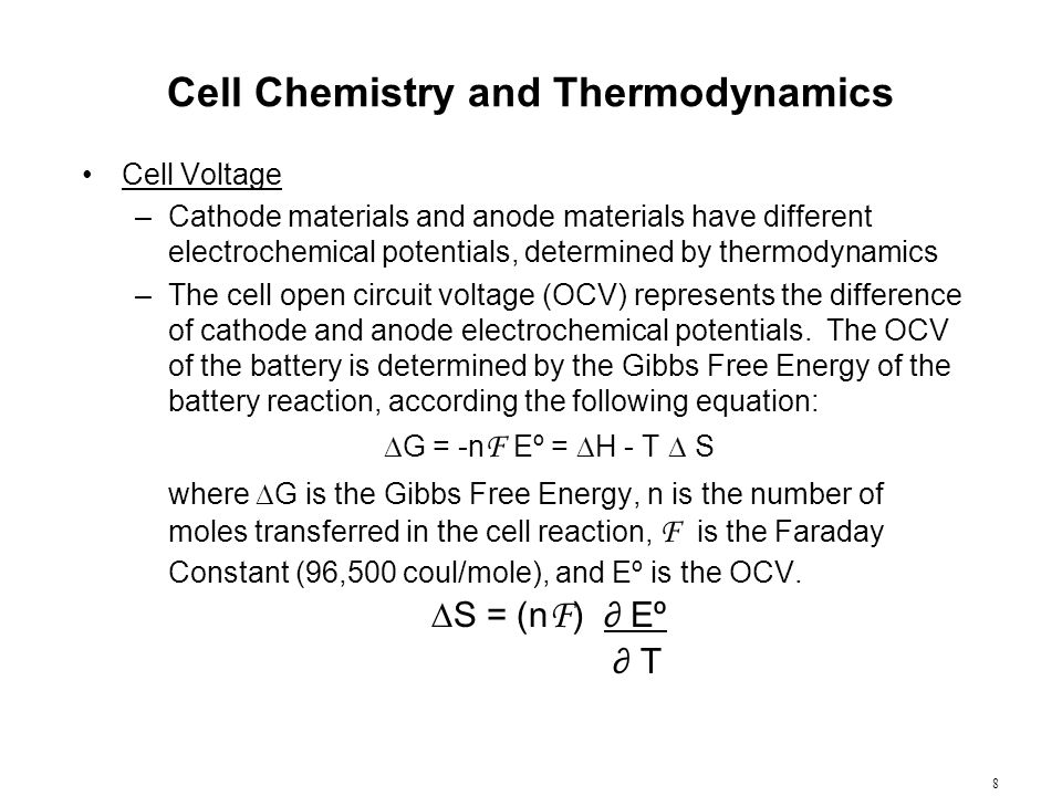 Cell Chemistry and Thermodynamics