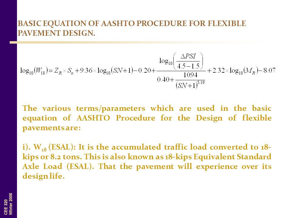 BASIC EQUATION OF AASHTO PROCEDURE FOR FLEXIBLE PAVEMENT DESIGN.