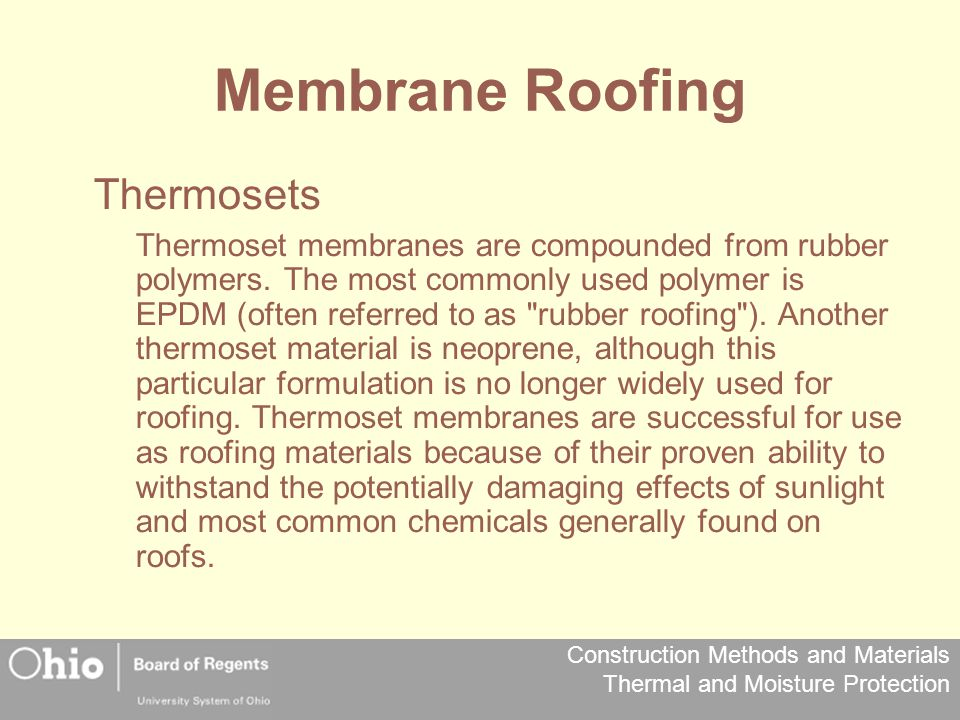 Membrane Roofing Thermosets