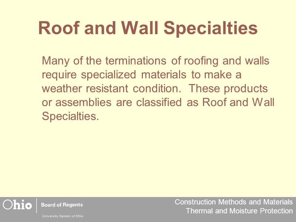 Roof and Wall Specialties