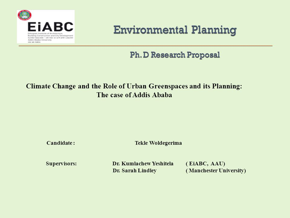 Environmental Planning Ph. D Research Proposal