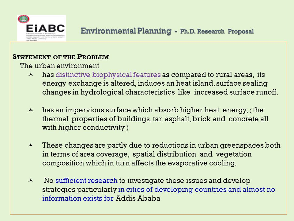 Environmental Planning - Ph.D. Research Proposal