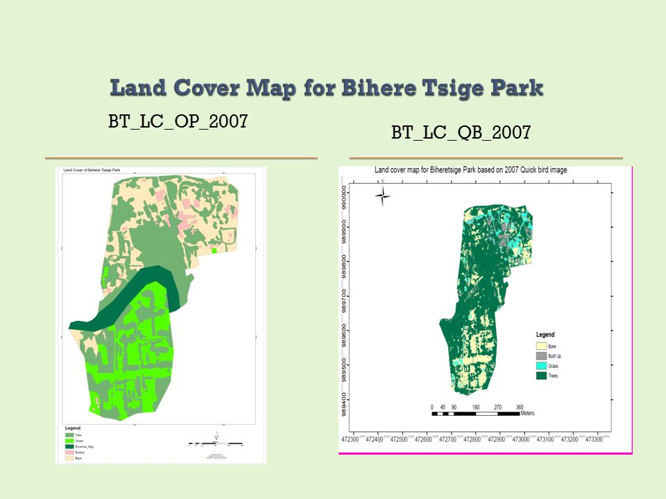 Land Cover Map for Bihere Tsige Park