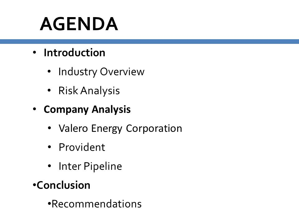 AGENDA Introduction Industry Overview Risk Analysis Company Analysis