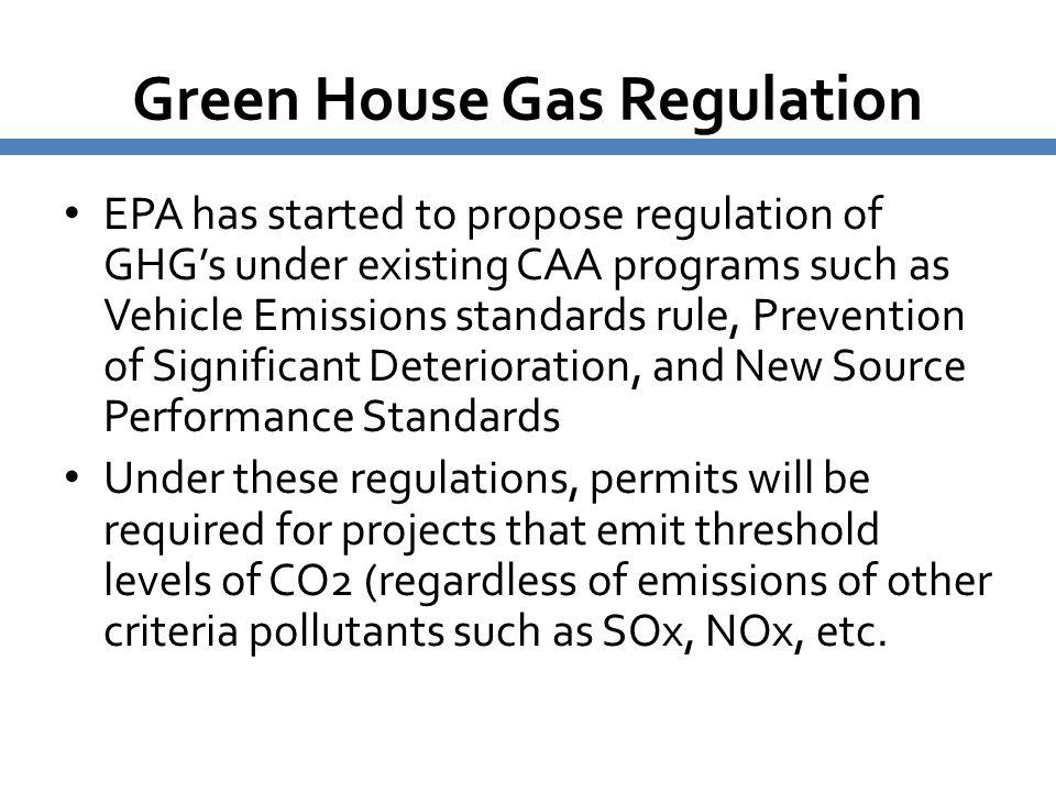 Green House Gas Regulation