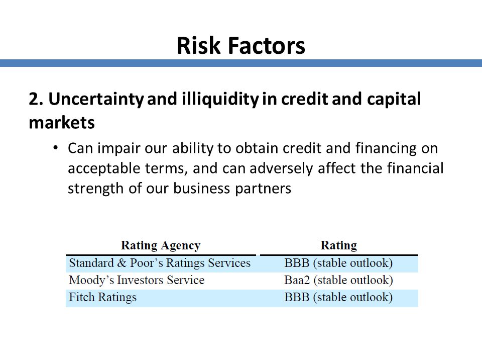 Risk Factors 2. Uncertainty and illiquidity in credit and capital markets.