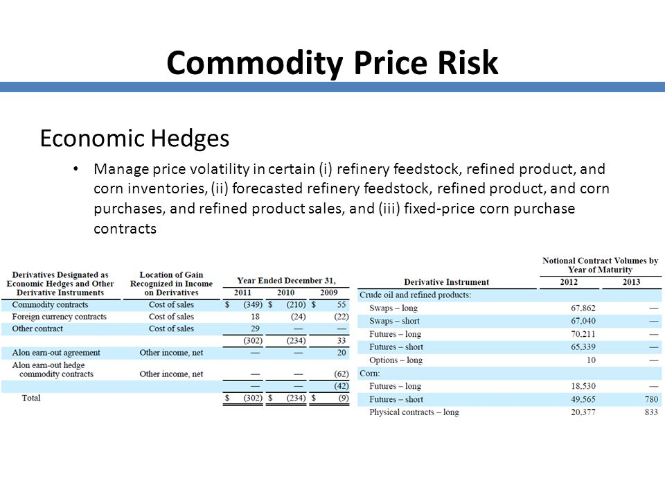 Commodity Price Risk Economic Hedges