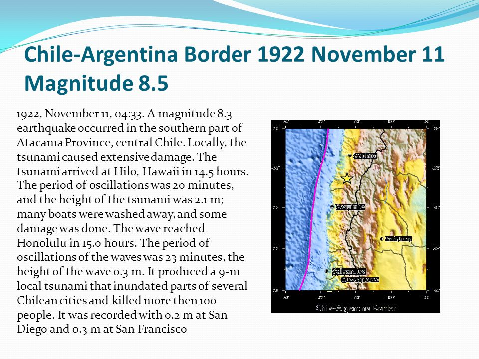 Chile-Argentina Border 1922 November 11 Magnitude 8.5