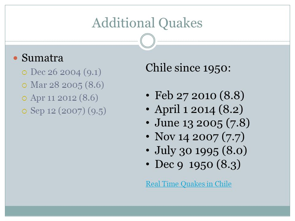 Additional Quakes Chile since 1950: Feb 27 2010 (8.8)