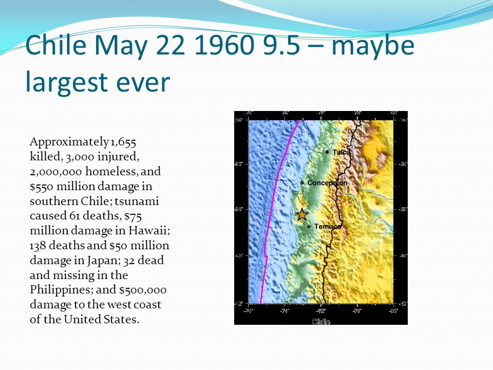 Chile May 22 1960 9.5 – maybe largest ever