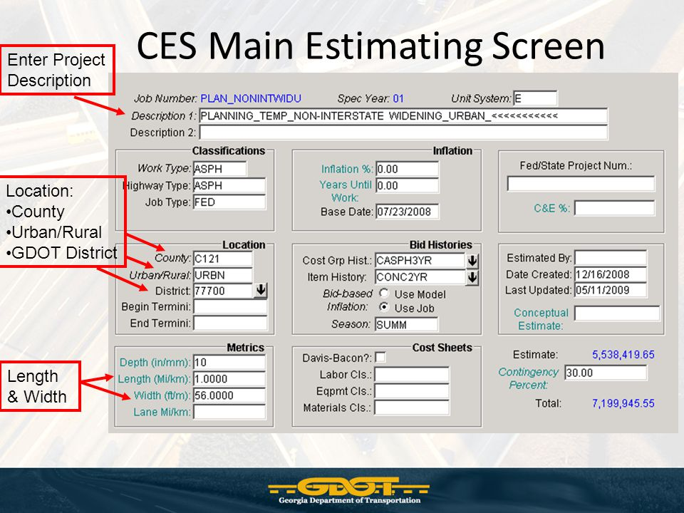 CES Main Estimating Screen