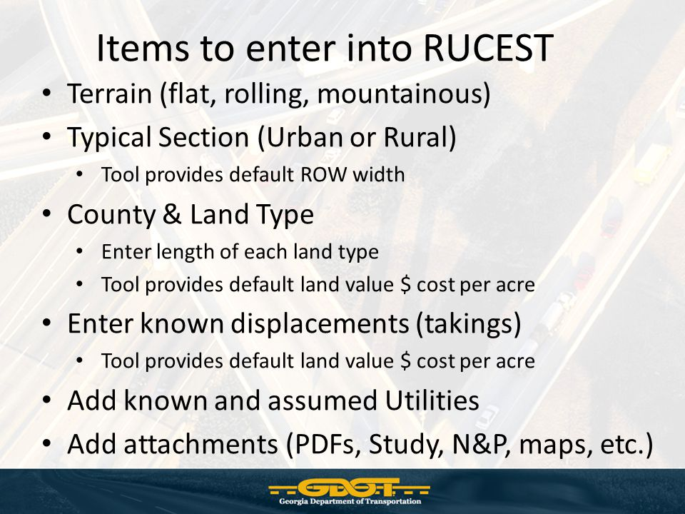 Items to enter into RUCEST