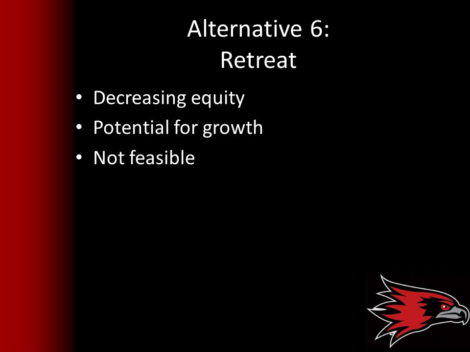 Alternative 6: Retreat Decreasing equity Potential for growth