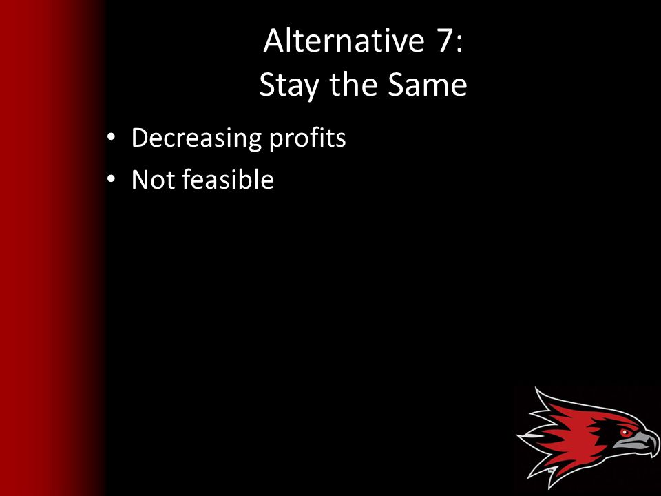 Alternative 7: Stay the Same