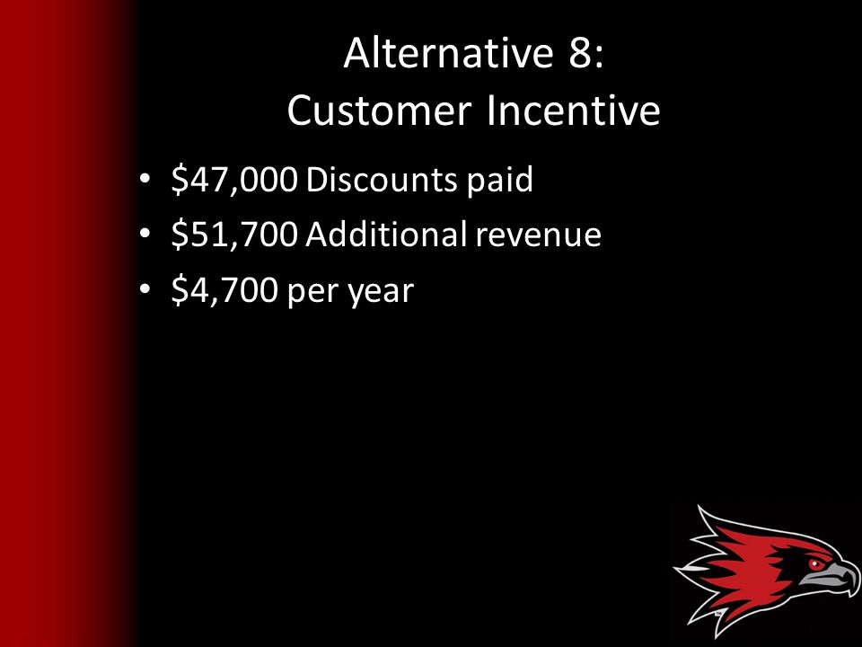 Alternative 8: Customer Incentive
