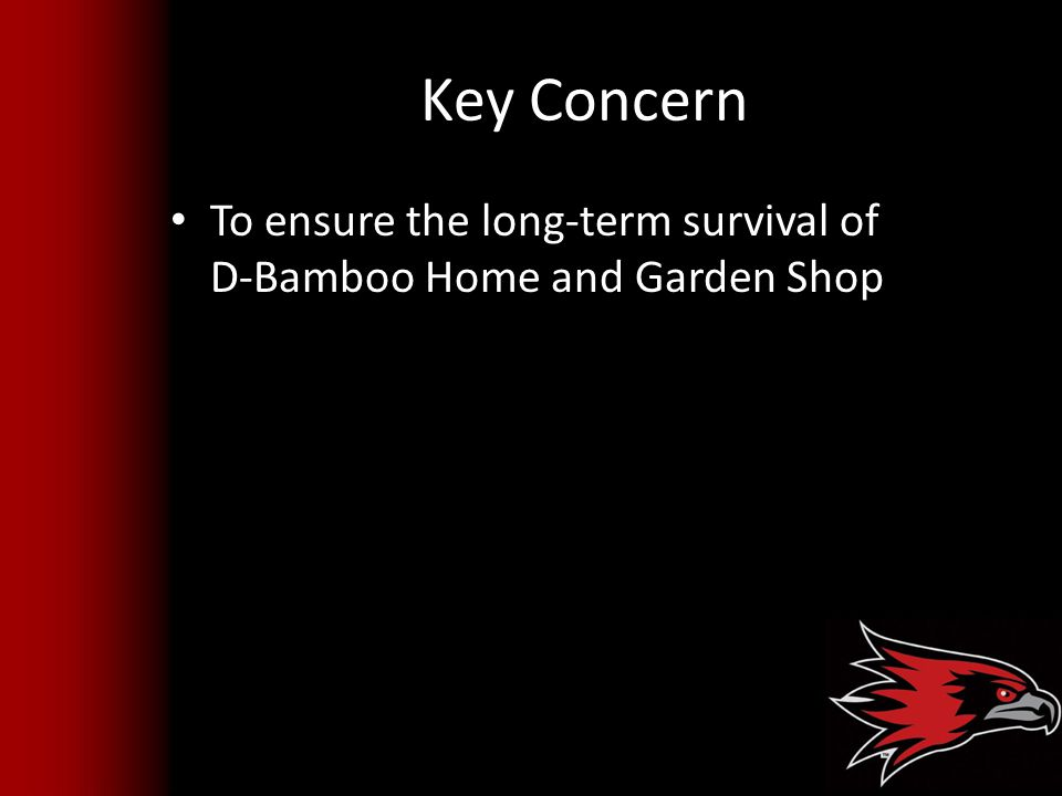 Key Concern To ensure the long-term survival of D-Bamboo Home and Garden Shop
