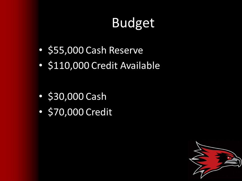 Budget $55,000 Cash Reserve $110,000 Credit Available $30,000 Cash