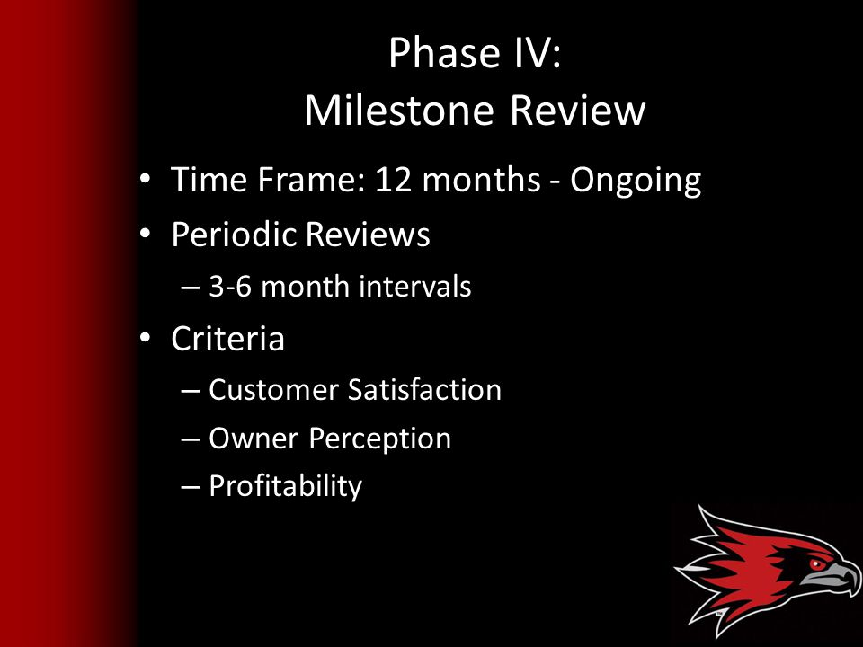 Phase IV: Milestone Review