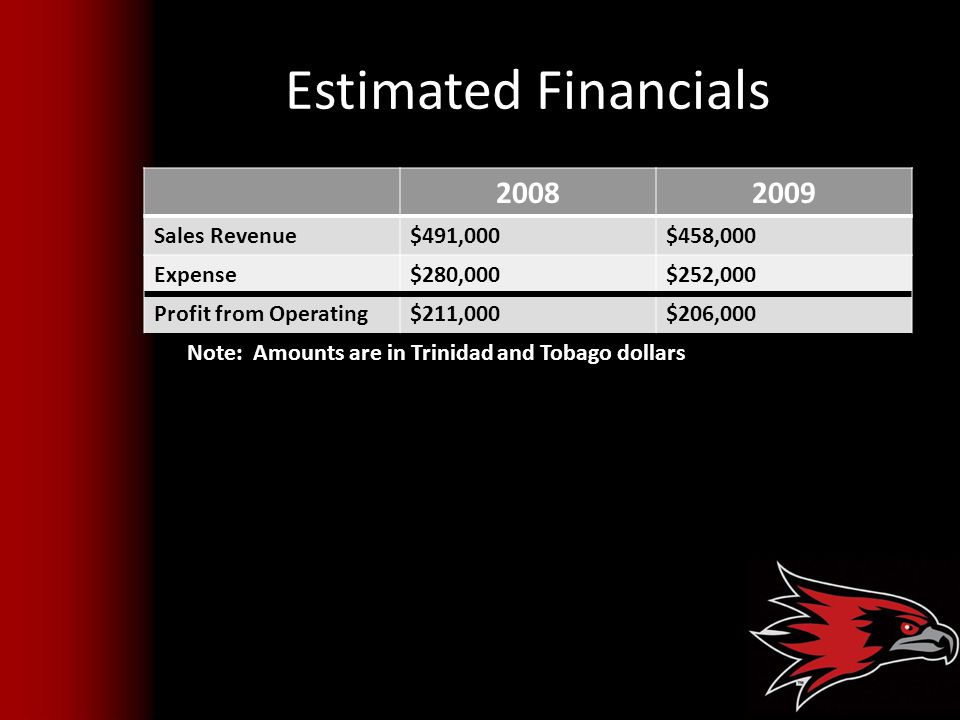 Estimated Financials 2008 2009 Sales Revenue $491,000 $458,000 Expense