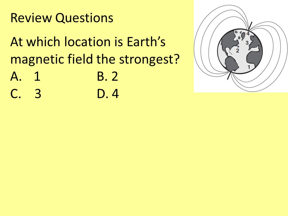 Review Questions At which location is Earth's magnetic field the strongest 1 B. 2 C. 3 D. 4