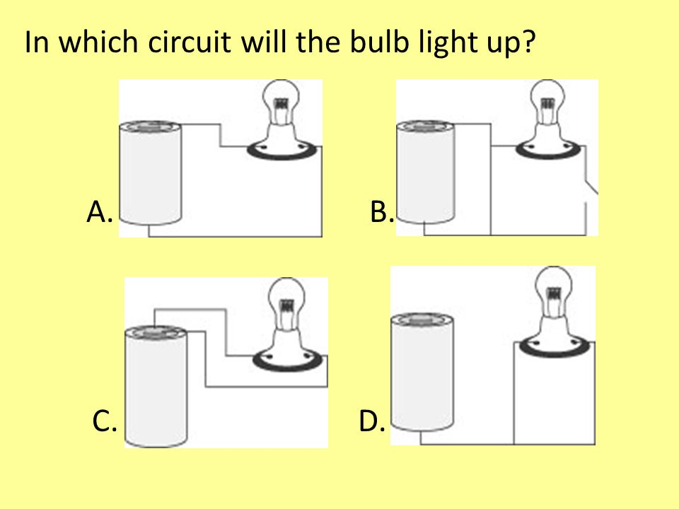 In which circuit will the bulb light up