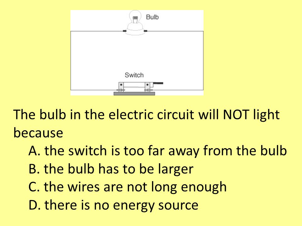 The bulb in the electric circuit will NOT light because