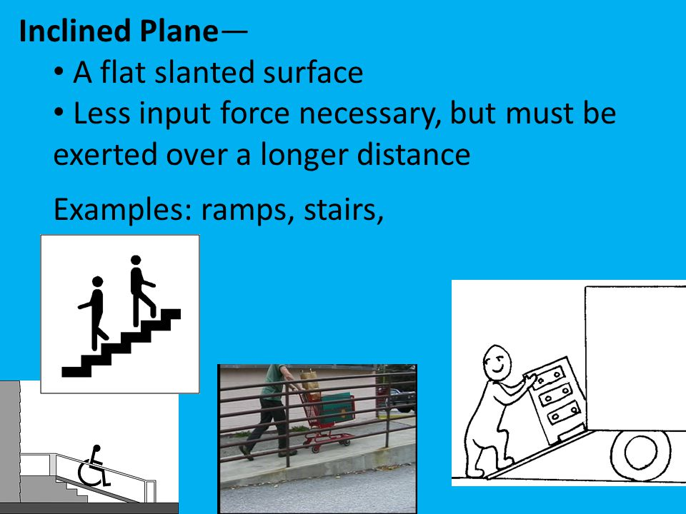 Inclined Plane— A flat slanted surface. Less input force necessary, but must be exerted over a longer distance.