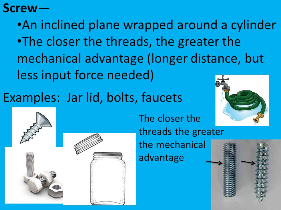 An inclined plane wrapped around a cylinder