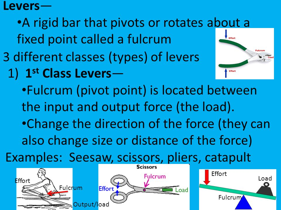 3 different classes (types) of levers 1) 1st Class Levers—
