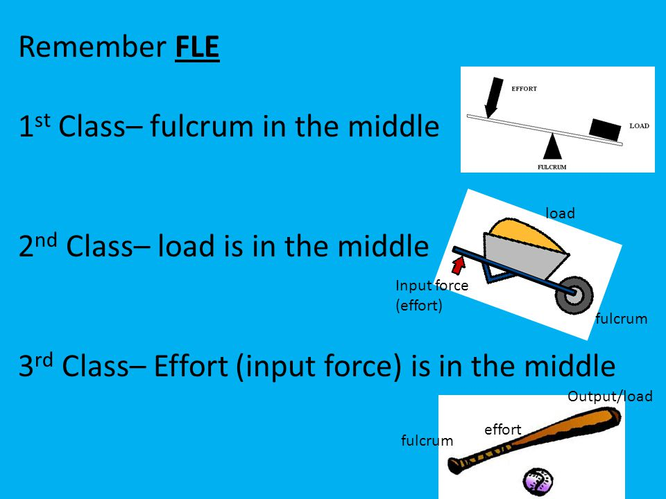 1st Class– fulcrum in the middle