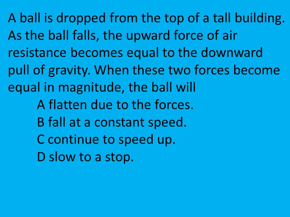 A ball is dropped from the top of a tall building