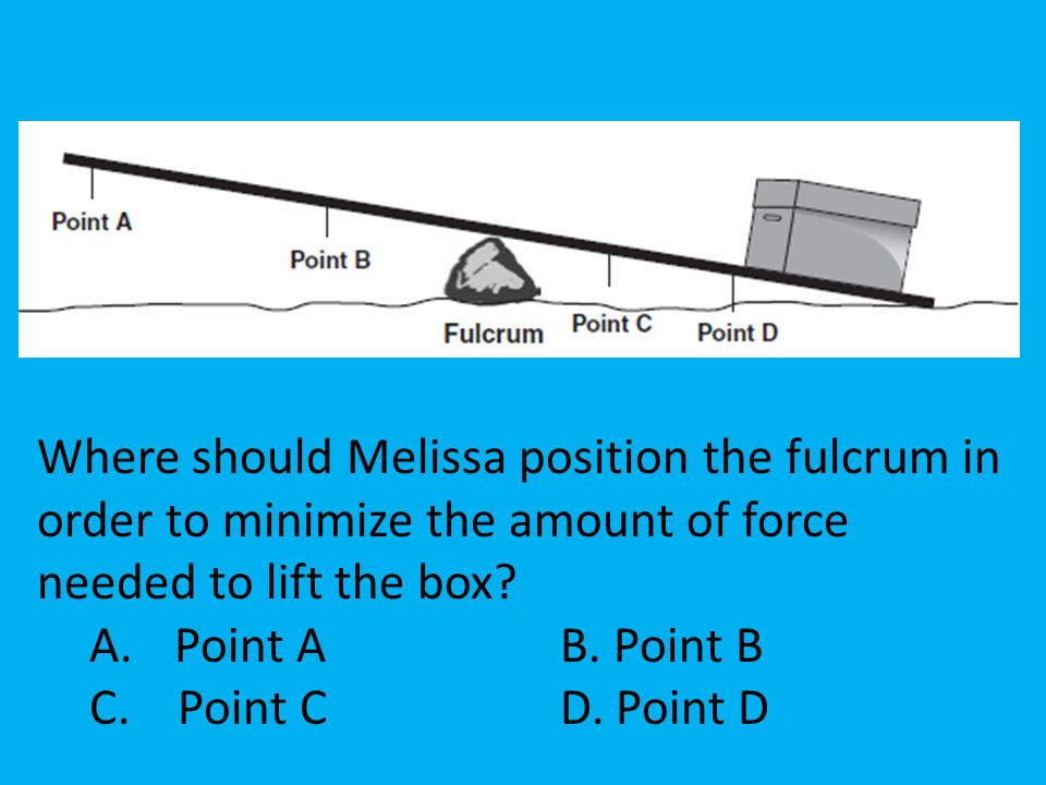 Where should Melissa position the fulcrum in order to minimize the amount of force needed to lift the box