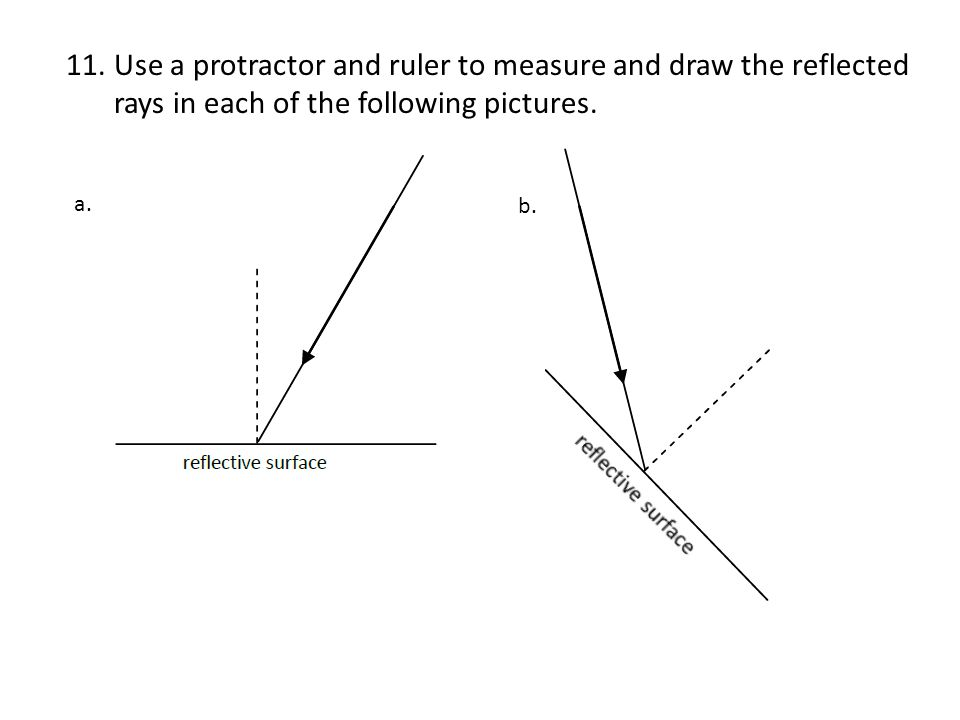 Use a protractor and ruler to measure and draw the reflected rays in each of the following pictures.