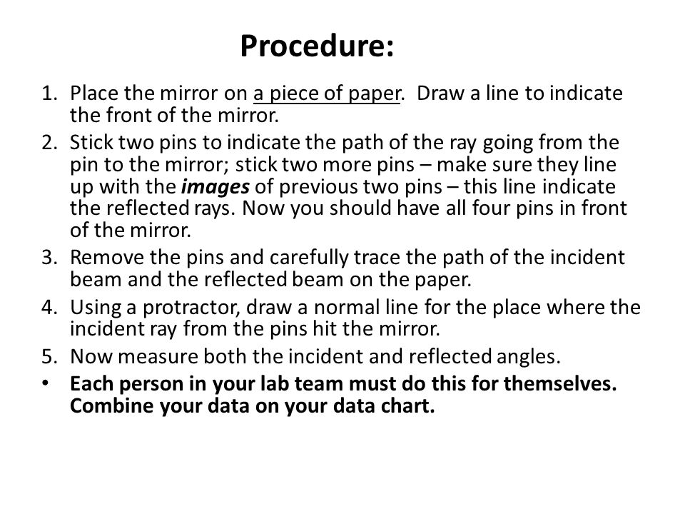 Procedure: Place the mirror on a piece of paper. Draw a line to indicate the front of the mirror.