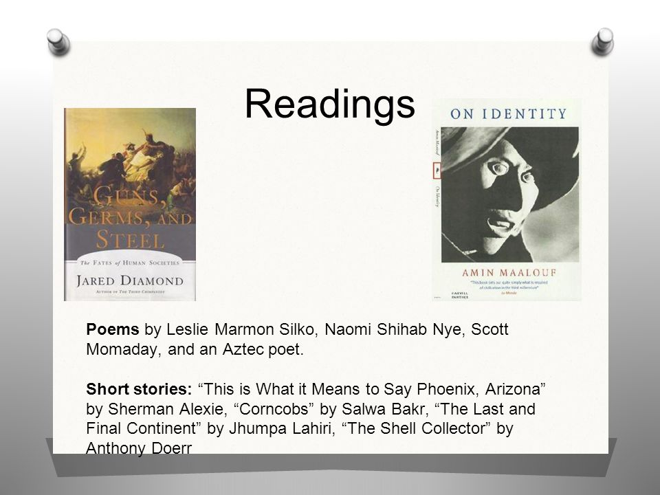 Readings Poems by Leslie Marmon Silko, Naomi Shihab Nye, Scott Momaday, and an Aztec poet.