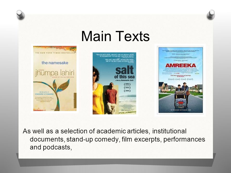 Main Texts As well as a selection of academic articles, institutional documents, stand-up comedy, film excerpts, performances and podcasts,