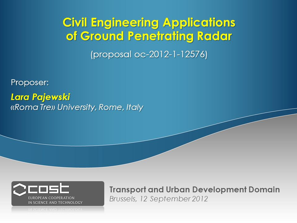 Proposer: Lara Pajewski «Roma Tre» University, Rome, Italy