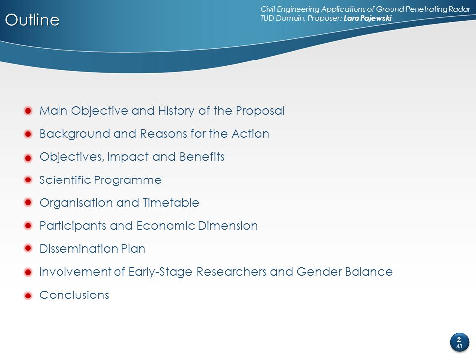 Outline Main Objective and History of the Proposal