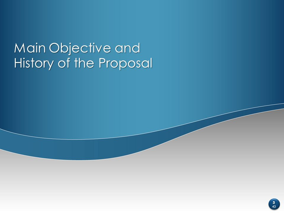 Main Objective and History of the Proposal